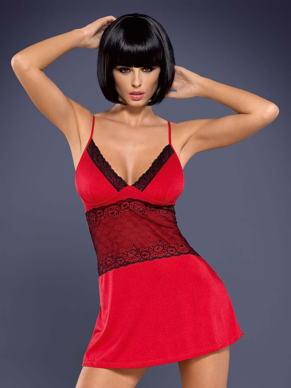 0c3506109bf4d0 Lamia koszulka i stringi czerwone - z koronkowym zdobieniem - Sklep ...