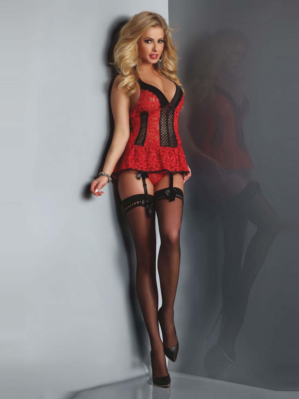 32db35773277dd Red Rose - barokowa koszulka + stringi z paskami do pończoch - Sklep ...