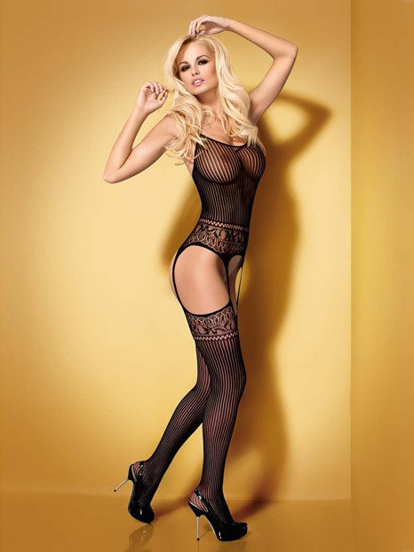 Bodystocking G307 czarne - bodystocking z pończochami - OB9338
